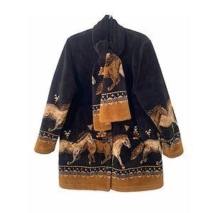 Vtg 90s Teddy Bear Fleece Jacket Trotting Horses M